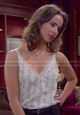 Ivy's white printed v-neck cami on The Bold and the Beautiful