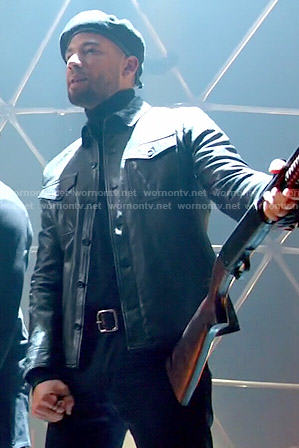 Jamal's leather button front jacket on Empire