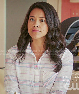 Jane's blue and red striped top on Jane the Virgin