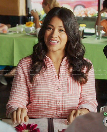 Jane's coral striped button front shirt on Jane the Virgin
