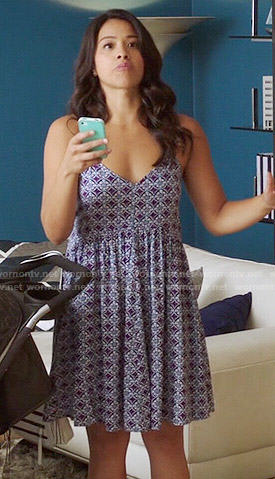 Jane's purple tile printed slip dress on Jane the Virgin