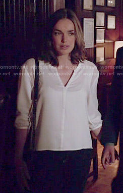 Jemma's white split-neck blouse on Agents of SHIELD