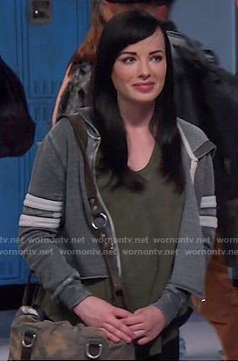 Jenna's grey cropped hoodie on Awkward