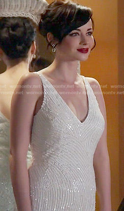 Jenna's white beaded prom dress on Awkward