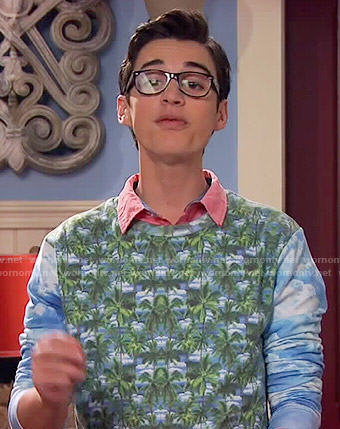 Joey's palm and cloud print sweater on Liv and Maddie