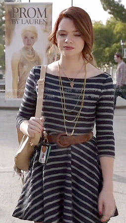 Karma's navy striped dress on Faking It