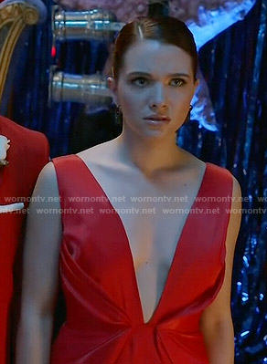 Karma's red plunge neck gown on Faking It