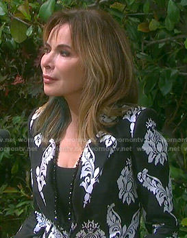 Kate's black and white damask print blazer on Days of our Lives