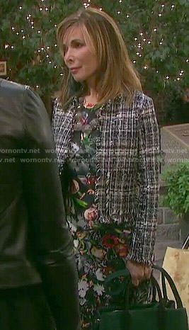 Kate's floral dress and tweed jacket on Days of our Lives