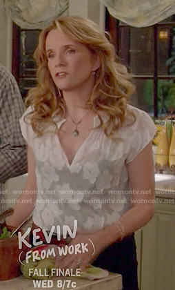 Kathryn's sheer white floral top on Switched at Birth