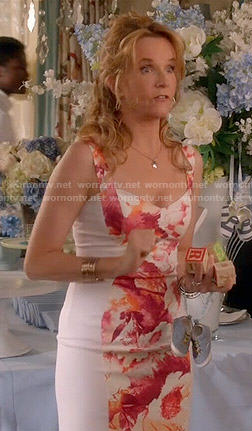 Kathryn's white and coral floral front dress on Switched at Birth