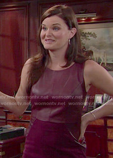 Katie's burgundy leather dress on The Bold and the Beautiful