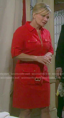 Kayla's red zip front dress with pockets on Days of our Lives