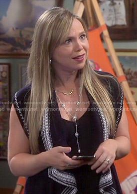 Wornontv Kristin S Black Sleeveless Cardigan With White