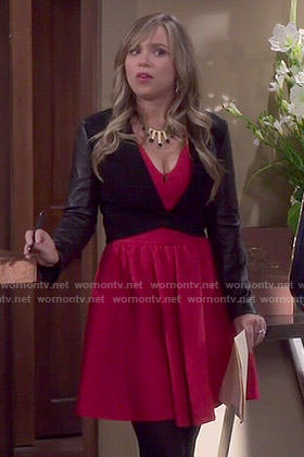 Kristin's red v-neck dress and leather sleeved jacket on Last Man Standing