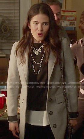 Laurel's grey coat on How to Get Away with Murder