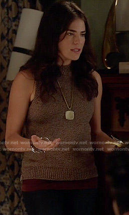 Laurel's marled sleeveless sweater on How to Get Away with Murder