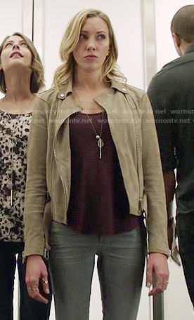 Laurel's suede jacket on Arrow