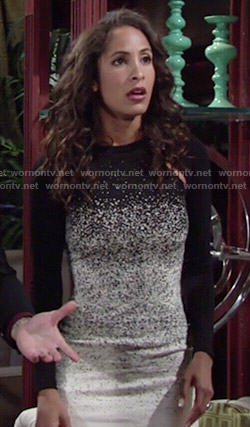 Lily's black and white ombre long sleeved dress on The Young and the Restless