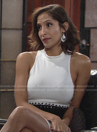 Lily's white dress with black lace-up panel on The Young and the Restless