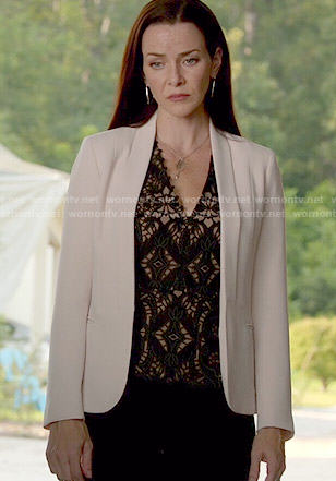 Lily's black lace v-neck top on The Vampire Diaries