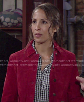 Lily's red suede jacket and gingham checked shirt on The Young and the Restless