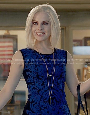 Liv's blue and black damask patterned dress on iZombie