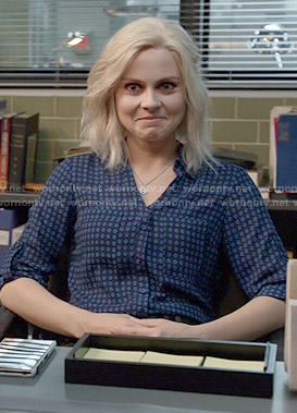 Liv's blue diamond print shirt on iZombie