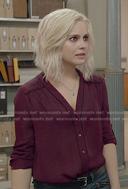 Liv's burgundy blouse with black piping in iZombie