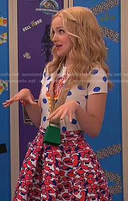 Liv's polka dot ice cream top and red leopard print skirt on Liv and Maddie