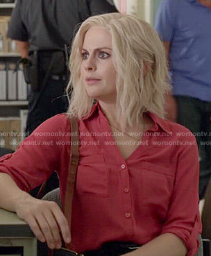 Liv's red button front blouse on iZombie