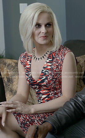 Liv's red and navy printed v-neck dress on iZombie