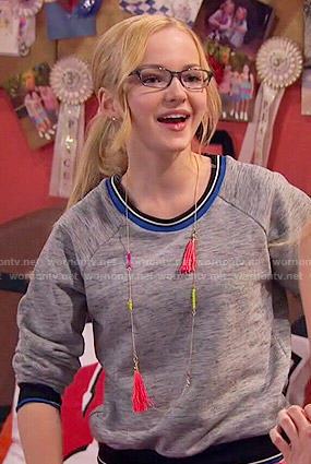 Maddie's grey sweatshirt with blue trim on Liv and Maddie