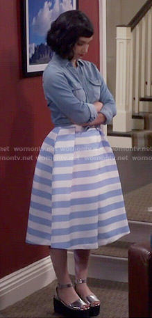 Mandy's blue striped midi skirt, denim shirt and silver platform sandals on Last Man Standing