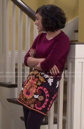 Mandy's embroidered skirt and burgundy sweater on Last Man Standing