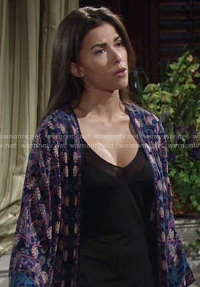 Marisa's blue and purple printed kimono on The Young and the Restless