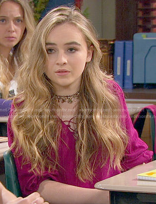 Maya's pink peasant blouse on Girl Meets World