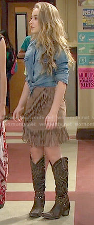Maya's suede fringed skirt and denim shirt on Girl Meets World