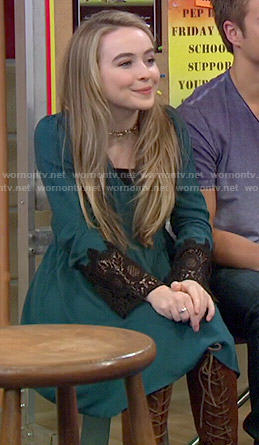 Maya's teal dress with black lace sleeves on Girl Meets World
