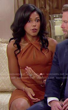 Maya's tan twist-neck dress on The Bold and the Beautiful