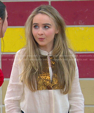 Maya's white top with gold sequins on Girl Meets World