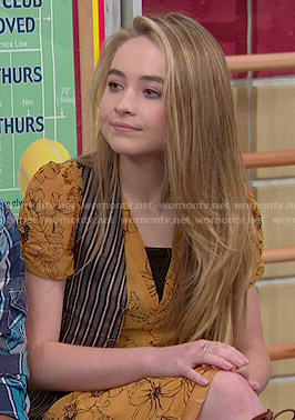 Maya's yellow floral v-neck dress on Girl Meets World