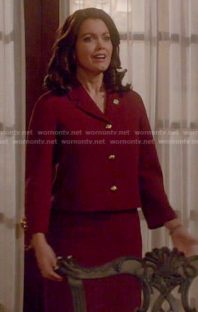 Mellie's red jacket with gold buttons on Scandal