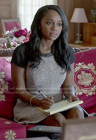 Michaela's grey dress with leather trim on How to Get Away with Murder