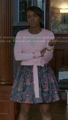 Michaela's pink wrap sweater and printed skirt on How to Get Away with Murder