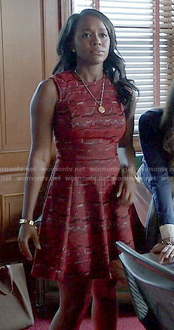Michaela's red printed fit and flare dress on How to Get Away with Murder