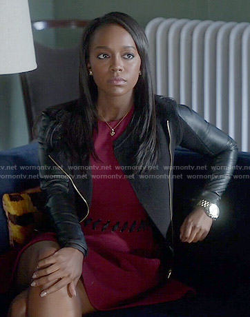 Michaela's red dress with lace-up waist on How to Get Away with Murder