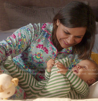 Mindy's blue flower and bird print pajamas on The Mindy Project