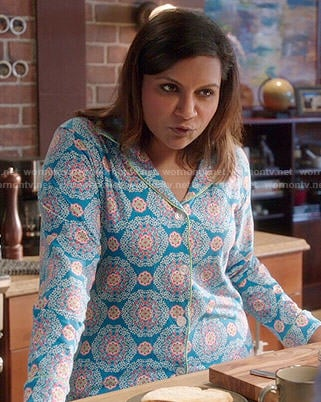 Mindy's blue medallion printed pajamas on The Mindy Project