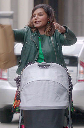 Mindy's green leather jacket and floral skirt on The Mindy Project